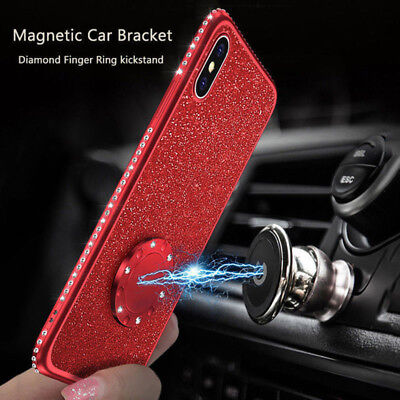 Glitter Magnetic With Ring Holder Stand Soft Phone Case For iPhone XS Max 6 7 8