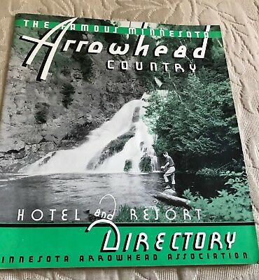 Vintage 1940's Minnesota Arrowhead Country Resort Directory Fishing Cabin Decor