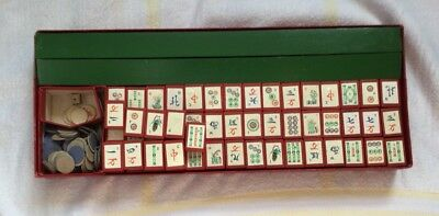 Vintage Mahjong Set Made By Chad Valley Wooden Tiles In Box
