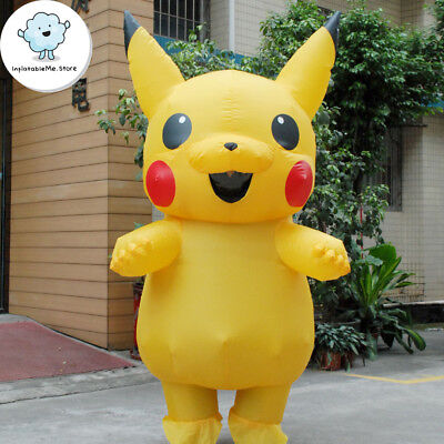 [Adult] US SHIP Inflatable Pokemon Go Pikachu Cosplay Mascot Costume Halloween
