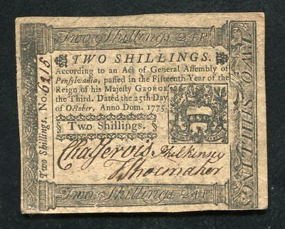 PA-187 OCTOBER 25, 1775 2s TWO SHILLINGS PENNSYLVANIA COLONIAL CURRENCY NOTE
