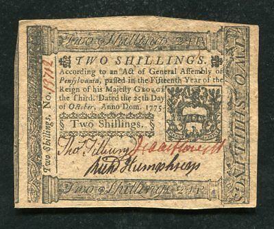 PA-187 OCTOBER 25, 1775 2s TWO SHILLINGS PENNSYLVANIA COLONIAL CURRENCY NOTE (B)