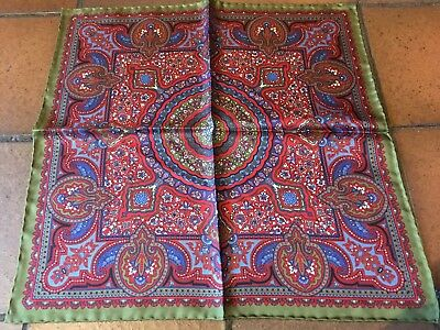Green Red Blue Paisley Hand Printed Silk Pocket Square