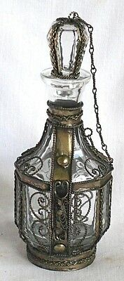 Glass Perfume Bottle With Stopper And Silver Plate Overlay And Chain