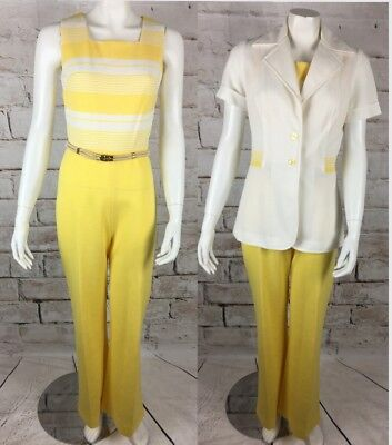 Vintage 70s Bell Bottom Wide Leg Disco Jumpsuit Polyester M Leisure Suit Jacket