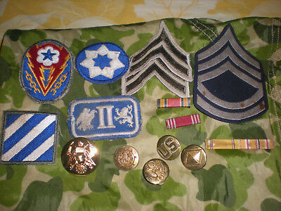WW2 LOT of RIBBON BARS,EM COLLAR BRASS,INFANTRY/CORPS/RANKS PATCHES= 15 Pieces