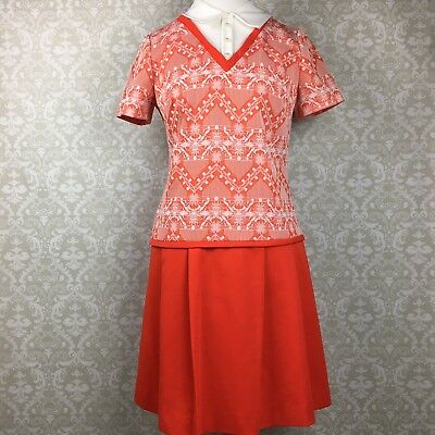 Vintage 1960s Montgomery Ward Drop Waist Shift Dress Pleated Red Polyester 14