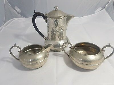 An Antique 3 Piece Pewter Tea Set By Pinder Brothers.sheffield.very ornate.