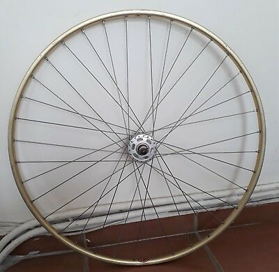"Vintage ""gold"" Ambrosio Montreal front wheel (tubular) - Normandy hubs"