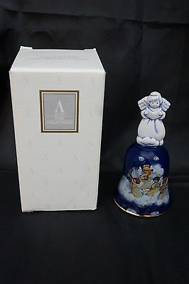 NIB Avon 1992 Porcelain Christmas Bell HEAVENLY NOTES Handpainted w 22k Gold Vtg