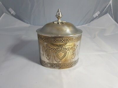 An Antique Silver Plated Tea Caddy With Engraved Patterns.very Ornate.
