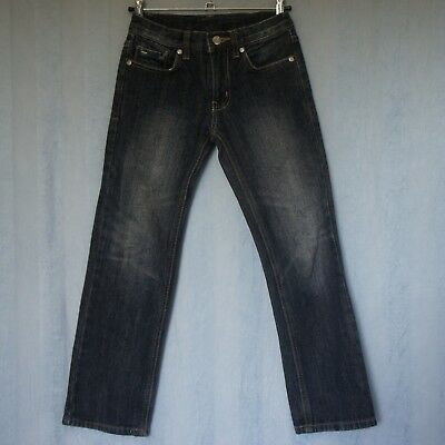 PIPING HOT Jeans, Boys Unisex Denim Jeans, Size 7, Dark Blue, Factory Faded