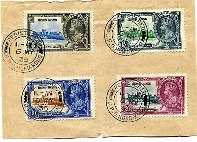 1935 Silver Jubilee Hong Kong set on piece, First Day cancels see description