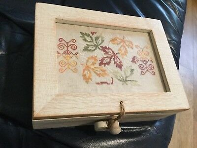 storage box for silks - wooden with hand cross stitched lid