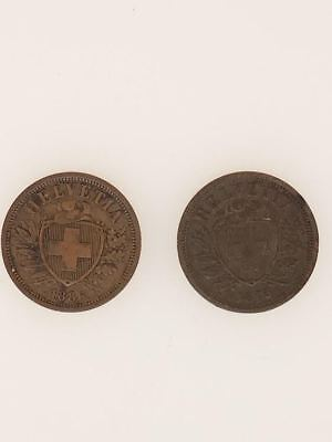 1875 & 1886 Switzerland Two Francs Coins