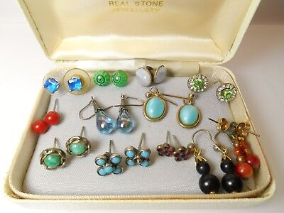 Job Lot Of Jewellery Small VINTAGE EARRINGS Millefiore Glass Turquoise Studs Etc
