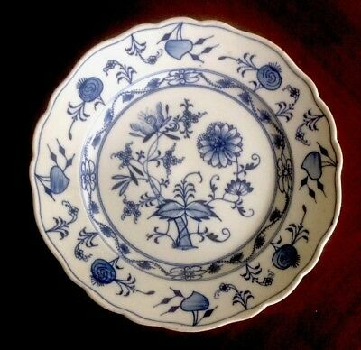 "Pair Of Antique Colln Meissen 8.5"" Blue Onion Plates Blue Arrow Mark Early 1900s"