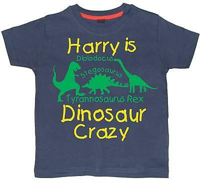 PERSONALISED DINOSAUR CRAZY T-SHIRT WITH NAME' Washed Navy T-shirt with Yellow &