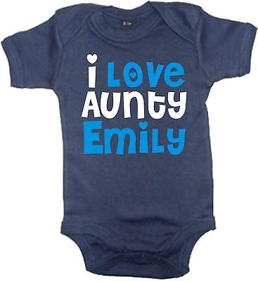PERSONALISED I LOVE AUNTY WITH NAME' Baby Bodysuit (PLEASE SELECT ADD GIFT OPTIO