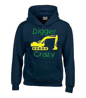 Childrens Navy hoodie with yellow and green print 'DIGGER CRAZY'