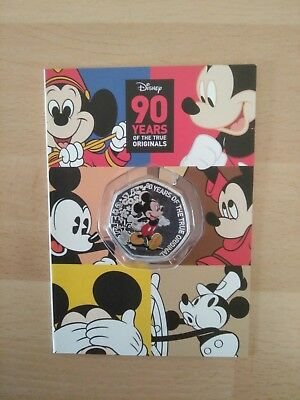 "Genuine Disney 2018 ""Mickey Mouse"" 50p  Shaped Coin 90th anniv, Silver Plated,"