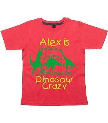 PERSONALISED DINOSAUR CRAZY WITH NAME Boy's T-shirt with Yellow and Green print