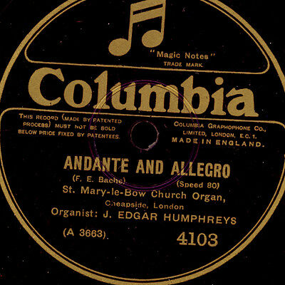 EDGAR HUMPHREYS at St. Mary-le-Bow Church Organ; Bache: Andante & Allegro  S9252