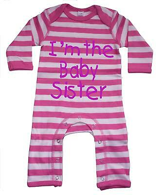 Bubblegum pink and white striped Rompersuit with pink glitter'I'm the baby siste