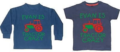 PERSONALISED TRACTOR CRAZY WITH NAME' Boys T-shirt and Sweatshirt GIFT SET with