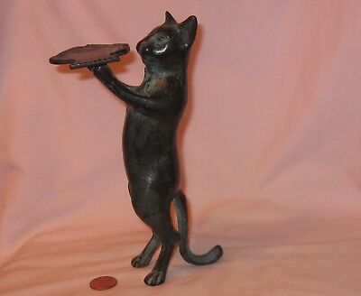 """Vintage 7"""" Standing Butcher Cat Holding A Fish Tray, Black Plated Over Brass Fig"""