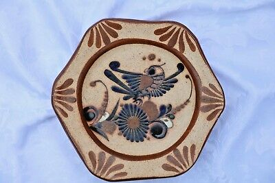 Vintage Signed S. MEX Hanging Clay Pottery Plate Bird with Flowers