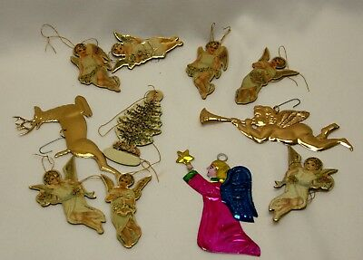 Vintage Lot of 11 Christmas Tree Decorations Die Cut Paper/Cardboard and Tin #20