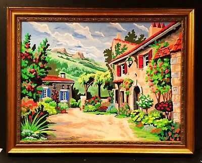 Vintage paint by number. PBN painting. Old Tuscany villa & countryside. Bright