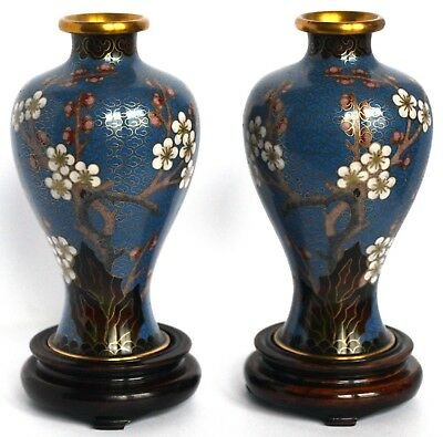 A pair of late Victorian or early 20th Century Chinese cloisonné enamel vases on