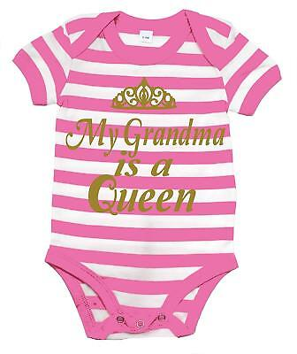 MY GRANDMA'S A QUEEN' striped bodysuit with gold print