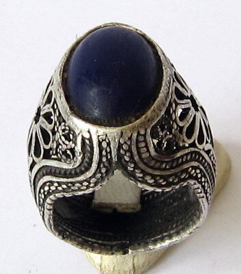 Fantastic Post Medieval Silver Men's Ring With Beautiful Filigree And Stone #517