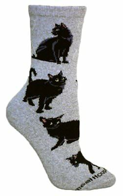 Black Cat Dog Breed Gray Lightweight Stretch Cotton Adult Socks