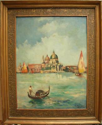 LARGE 19th CENTURY GRAND CANAL VENICE Antique Oil Painting