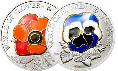 Cook Islands 2009 5$ Flowers of the World POPPY PANSY Silver Coin SET BOX COA