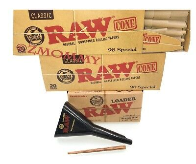 Raw Rolling Papers  98 Special Cone Loader, Poking Tool, & 40- 98 special Cones