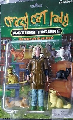 Crazy Cat Lady Action Figure 6 Cats by Accoutrements 2004 NIB Gag Gift Prank
