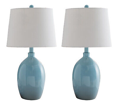 Kings Brand Light Blue With White Fabric Shade Table Lamps, Set of 2