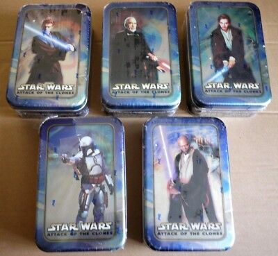 Star Wars Attack Of The Clones Topps Cards Tin x 5 Collection