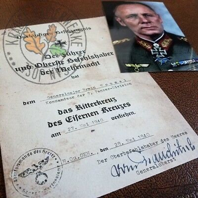 Knight's Cross of Iron Cross document - German Panzer General Erwin Rommel + pic