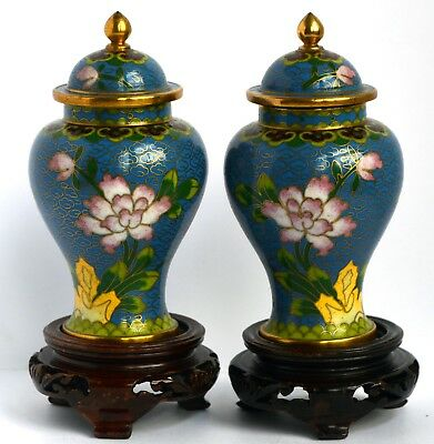 A pair of late Victorian or early 20th Century covered Chinese cloisonné enamel