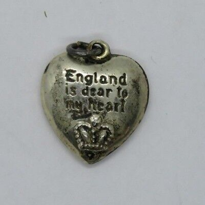 WWII Home Front Bundles for Britain Sterling Silver Puffy Heart Charm Pendant