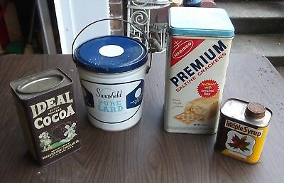 Lot of 4 Vintage Kitchen Tins - KING SYRUP - IDEAL COCOA-LARD- NABISCO