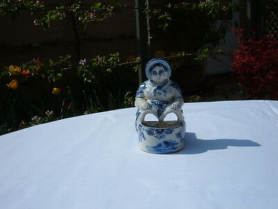 Rare 19Th Century French Faience Blue & White Tin Glazed Seated Lady C.1879-1900