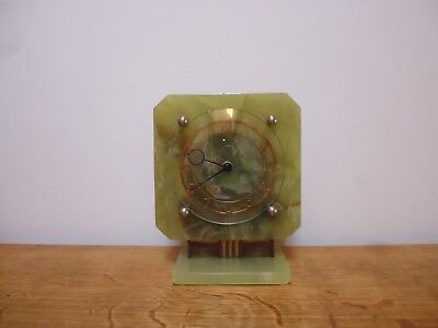 Art Deco Smiths Green Onyx Mantel Clock In Full Working Order