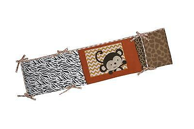 NoJo Baby Zambia Traditional Padded Unisex Security Crib Bumper Safari Monkey